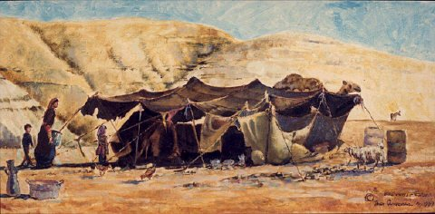 Tents being put up in the desert & The Ancient Hebrew Culture